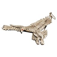 Vintage marcasite eagle brooch, sterling silver, art deco