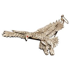 Vintage marcasite eagle brooch, sterling silver and marcasite,