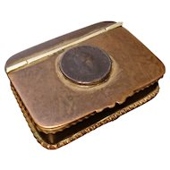 Rare Georgian copper and brass snuff box, George III 1799 half penny