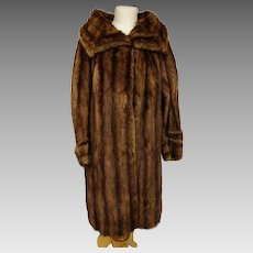 Vintage 50's fur coat, full length beaver fur, plus size