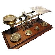 Antique post scales, Sampson& Mordan, brass weights