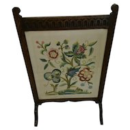 Antique carved oak fire screen, Arts and Crafts tapestry and glass screen