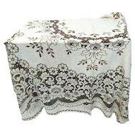 Vintage, large lace tablecloth, genuine Nottingham lace