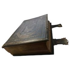 Incredible Victorian Bible, huge leather bound, gilt lined, clasped antique Bible