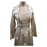 Vintage designer wedding dress, Laura Phillips, silk and pearl wedding gown, 1950's