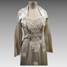 Vintage designer wedding dress, Laura Phillips, silk and pearl wedding gown, 1950's