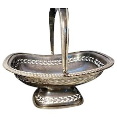Early Victorian pierced silver plated bon bon dish, handled antique dish / basket