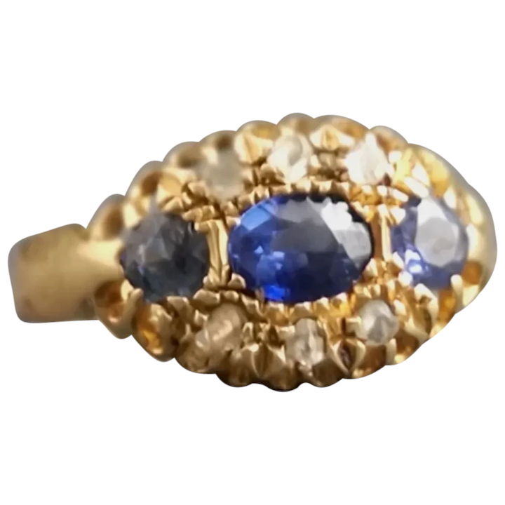ce739696fbc20 Antique 18ct gold / 18kt gold sapphire and paste stone ring
