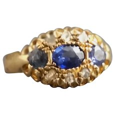 Antique 18ct gold / 18kt gold sapphire and white stone ring