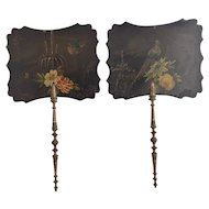 Pair of antique hand fans, Victorian papier mache face screens