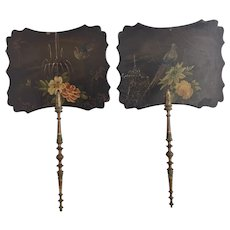Antique fans, Victorian papier mache face screens