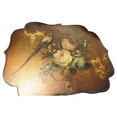 Victorian papier mache face screen, antique hand fan