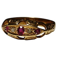 Antique Ruby and diamond boat ring, Victorian 18ct / 18kt gold
