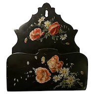 Gorgeous antique Victorian lacquered letter rack, poppy's and daisies, antique home decor