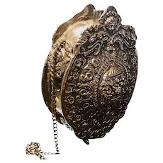 Antique 18th century powder flask, grand Russian silver plated powder flask, repousse metalwork