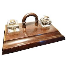 Antique solid oak and parquetry ink stand with ink wells