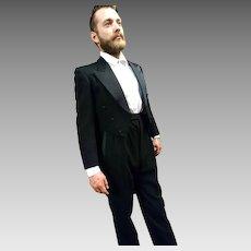 Incredible 40's men's evening suit, dinner suit, tailcoat, pure wool
