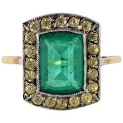 Georgian 15ct / 15kt gold and paste stone ring, green and white