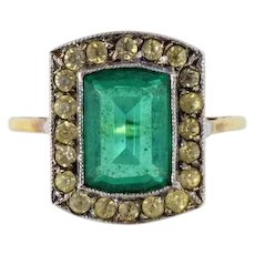 Georgian 15kt gold and paste stone ring, emerald green and white