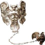 Antique owl cuff bracelet with ring, art nouveau silver on bronze, jugendstil