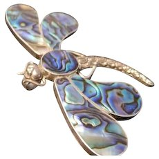 Art Deco sterling silver and abalone dragonfly brooch, vintage 20's silver insect brooch