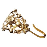 Victorian chatelaine hook with compass, antique ormolu chatelaine hook, gilt on bronze