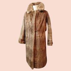 Vintage 1950's red fox fur coat, super soft, satin lined, long length fur coat