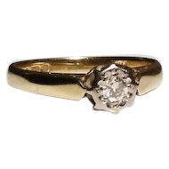 Vintage diamond solitaire ring, 9kt gold diamond engagement ring