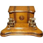 Antique Victorian solid oak ink stand with inkwells