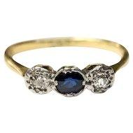 Antique diamond and sapphire ring 12kt gold, Georgian era trilogy ring