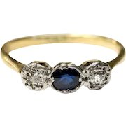 Antique diamond and sapphire ring 12ct gold, Georgian era trilogy ring