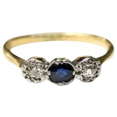 Antique diamond and sapphire ring 12kt gold, Georgian era trilogy ring