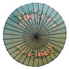 19th century Japanese parasol, antique hand printed paper and laquer parasol, wagasa