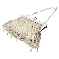 Art nouveau mesh evening bag, chain mail purse