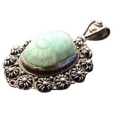 Silver scarab egyptian jewelry ruby lane vintage silver and jade scarab pendant 1920s egyptian revival scarab beetle art deco aloadofball Gallery
