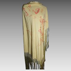 Vintage 1920's silk piano shawl, poppies and butterflies