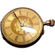 Antique Victorian 9ct gold pocket watch, top wind, Swiss made