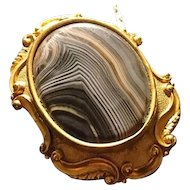 Victorian banded agate and pinchbeck mourning pendant / brooch