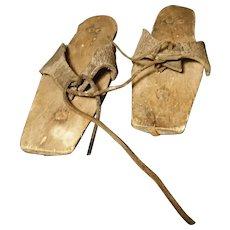Antique Pattens, rare 18th century overshoes, museum relics c1750 Georgian era
