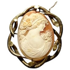 Victorian cameo brooch, large gilt metal fancy frame, bullmouth shell
