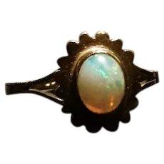 Art Deco Opal ring, 9ct gold flower set, natural sparkling Opal, vintage gold rings