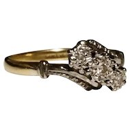 Art Deco diamond trilogy ring, 18kt gold and platinum, estate ring, engagement