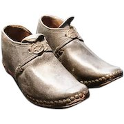 Victorian children's shoes, antique leather child's clogs, buckle shoes
