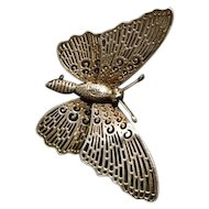 Silver butterfly brooch, vintage sterling silver butterfly, cut out detail, insect brooches
