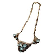 Art Deco necklace with foiled paste and gilt filigree