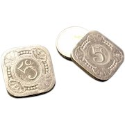 Unusual vintage mens 1930's/1940's cufflinks, Dutch silver coins, Wilhelmina 5c, hand made coin cufflinks