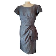 Vintage silk dress, 1950's pure silk grey two piece dress, Van Roth bombshell dress