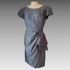 Vintage silk dress, 1950's pure silk grey two piece dress, Van Roth bombshell dress