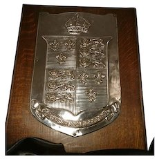 Antique silver plated heraldry shield, Edwardian era, wood mounted, god save the king