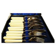 Antique cased silver plated cutlery set from Pearson Bros Nottingham, Victorian flatware